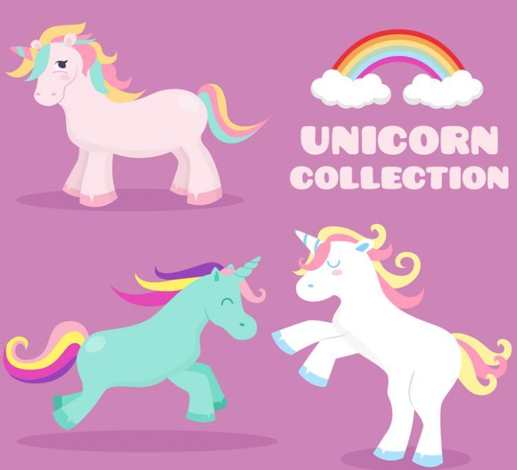 卡通彩色鬓毛独角兽和彩虹矢量素材图片