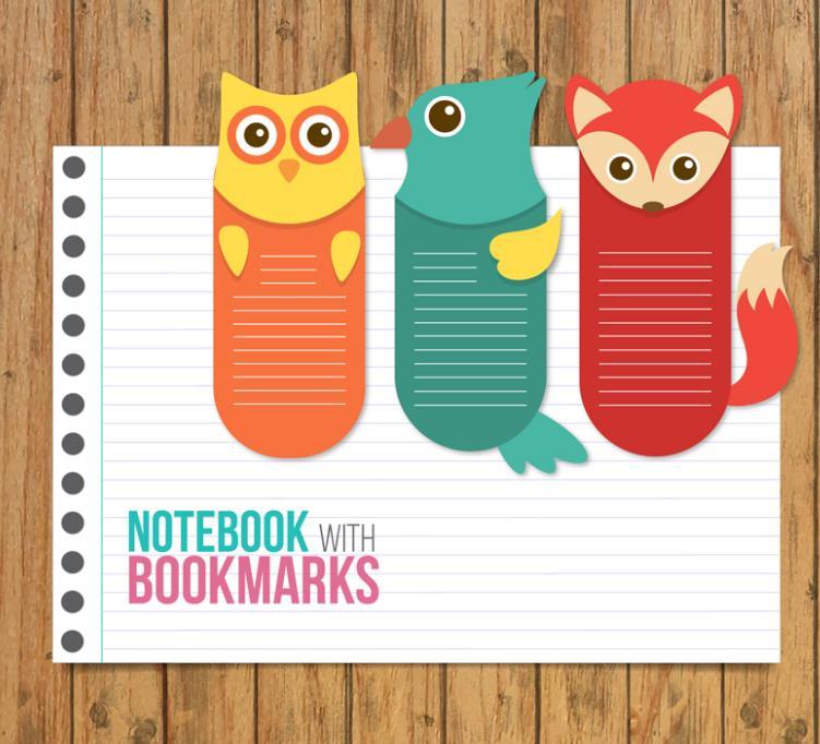 创意记事本和3个动物书签矢量图