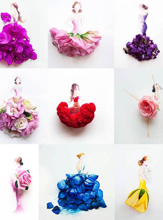 创意手绘人物花朵psd分层素材