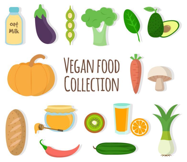 彩色卡通素食蔬菜设计ai素材
