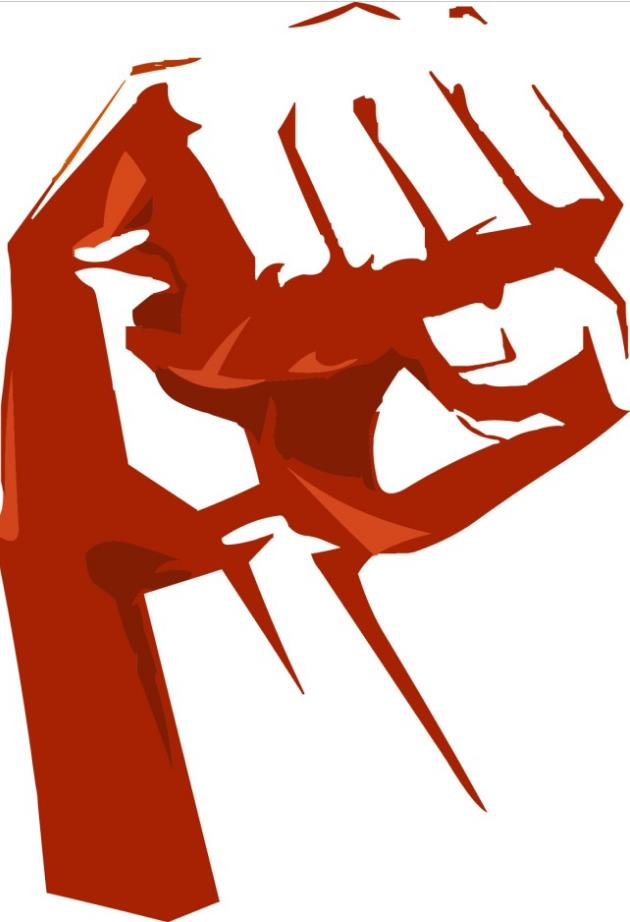 紧握的红色拳头剪影设计矢量图