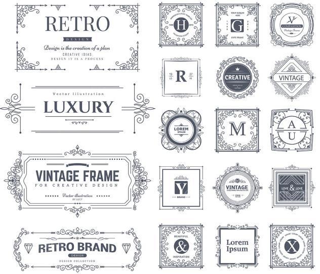 黑白色欧式字母花边边框矢量素材设计