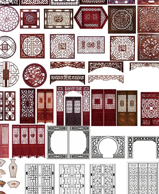 中国风传统古典木窗psd素材
