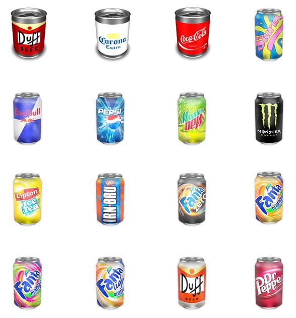 彩色易拉罐饮料设计素材png图标