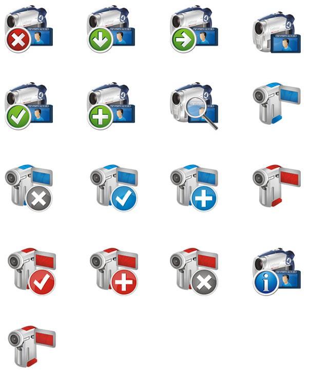 卡通摄像机与照相机ico图标设计