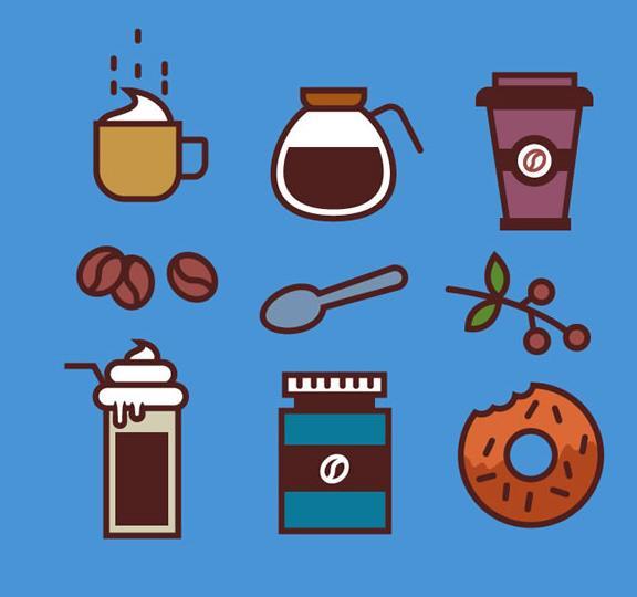 首页 资源下载 平面素材 矢量素材 图标 > 彩绘咖啡元素ico图标素材