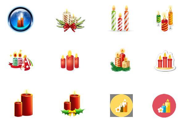 彩色圣诞蜡烛ico图标设计
