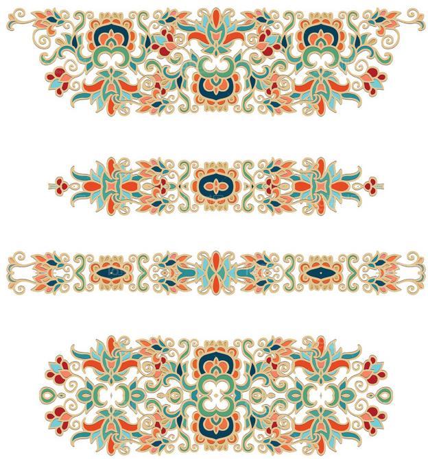 具有古典风格的古典民族花纹花边矢量素材设计是一组非常复古又唯美的花纹造型设计,其中花纹和花边设计了蓝色,绿色,黄色,红色等多组颜色,而且花纹还加入了中国风古典花纹等元素的设计,多数加入了民族风格的造型设计,需要复古民族风可以来本站下载使用哦。