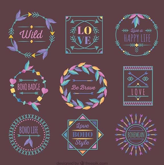 9款紫色花纹边框矢量素材图片