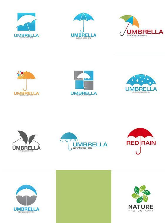扁平化雨傘logo矢量素材設計