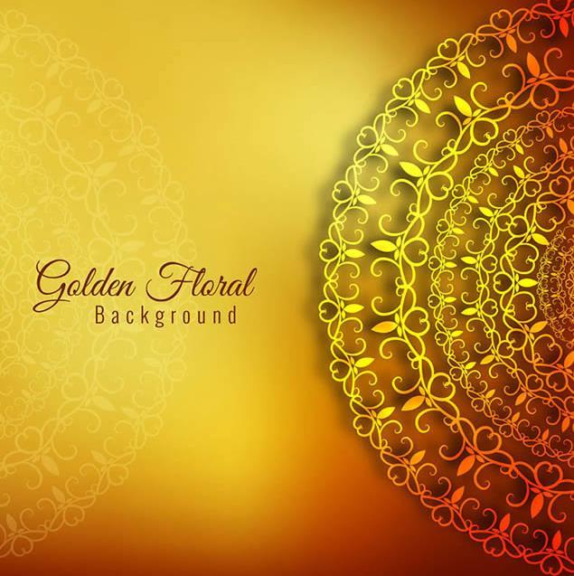 璀璨金色半圆花纹背景ai素材