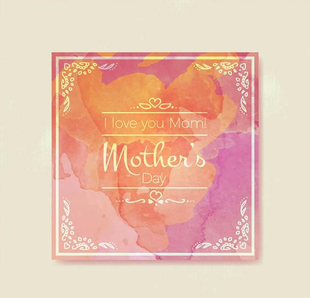 以水彩的造型展现给设计师的素材都是唯美的,水彩墨迹正方形母亲节祝福卡矢量素材设计中就设计了一组母亲节的祝福卡,其中就是以水彩的形式展现给大家的,粉色水彩背景加入了透明的边框设计也是非常独特的,中间透明颜色的英文祝福语可是可以代表母亲节的元素设计。