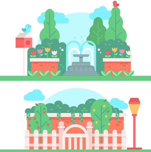 其中都设计了彩色的小鸟,彩色的花朵,还有喷泉,树木,篱笆等造型的设计