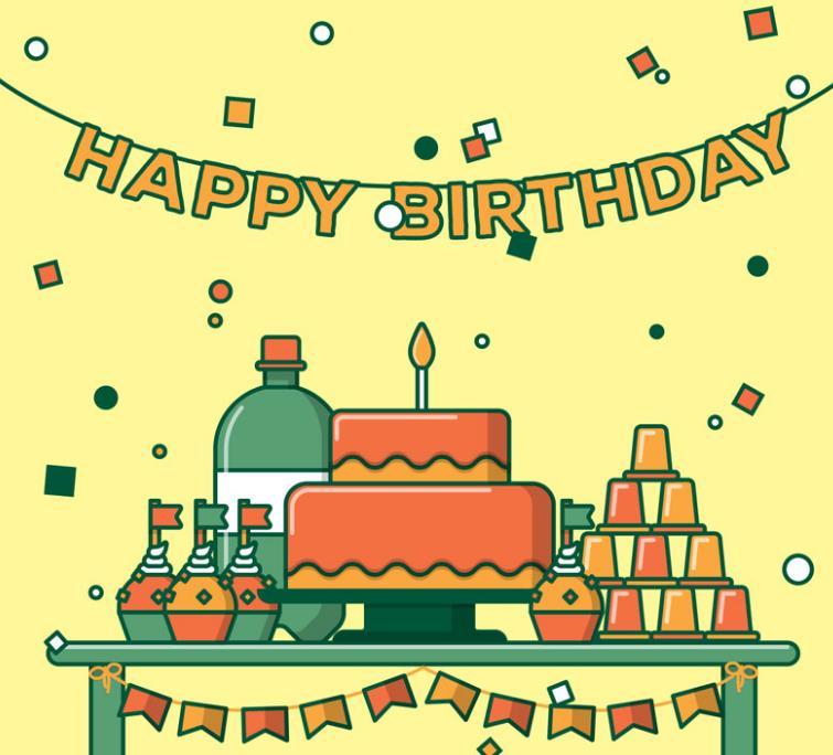 蛋糕简笔画彩色平面