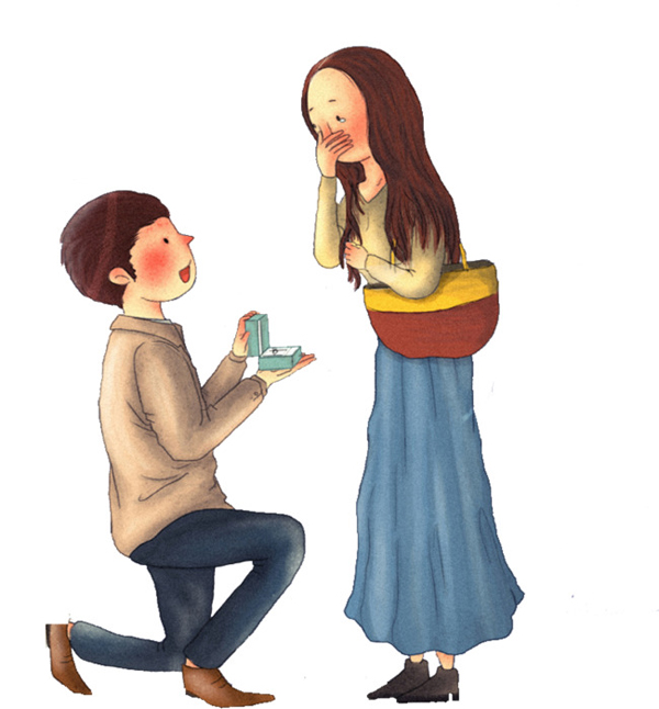 手绘情侣浪漫告白psd分层素材