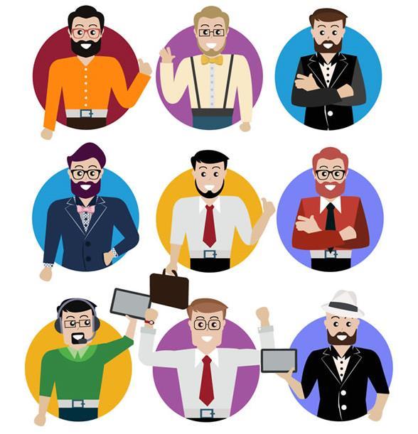 矢量素材 人物 > 9款圆形卡通职业男子头像矢量素材下载  职业人的