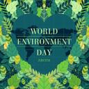 绿色植物爱心世界环境日海报矢量图