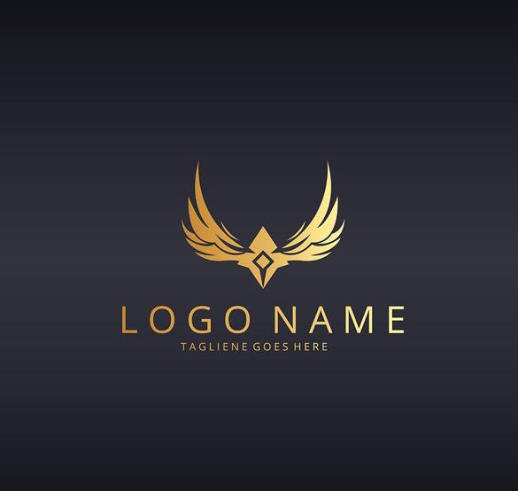 创意抽象翅膀金色logo矢量图