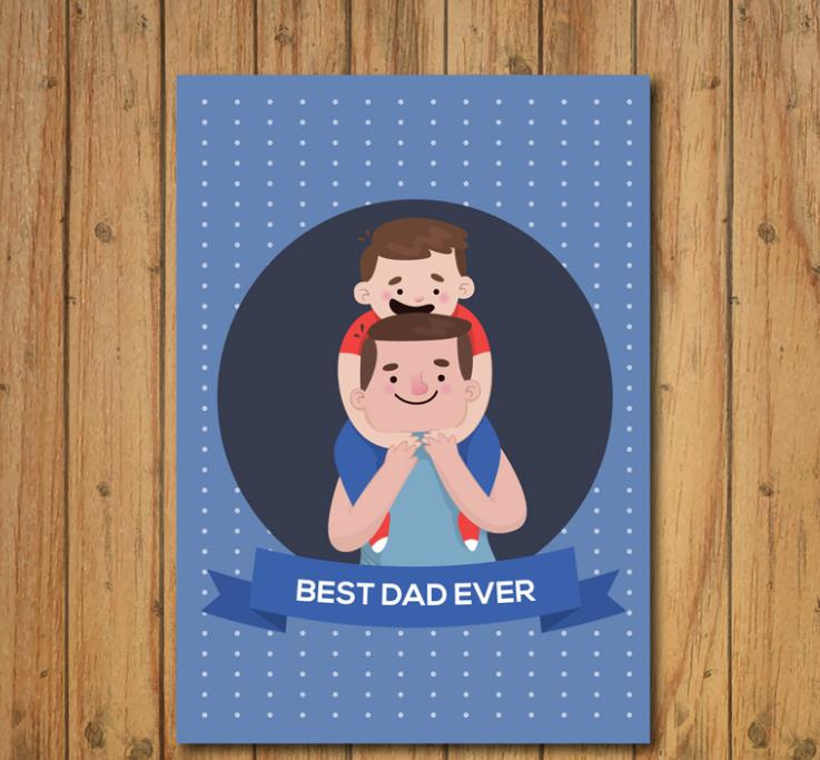 父亲的肩膀可是孩子人生中第一把椅子,父亲节卡通温馨父子节日贺卡矢量素材中就设计了一款温馨的父子节日卡片,其中木质地板为主题背景下加入了蓝色白点的贺卡背景,中间圆形里以为和蔼的父亲肩部坐着他可爱的儿子,而且都是以卡通形象展现给大家的,父亲节素材还可以来本站下载哦。