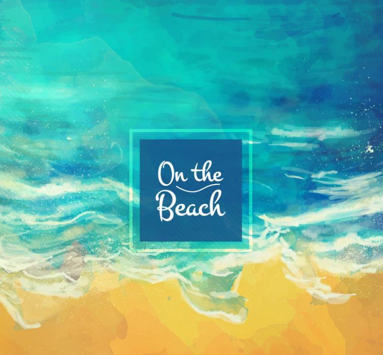 水彩绘唯美海边沙滩风景AI素材