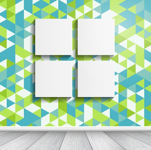 以设计的角度来讲花纹墙壁上的4个空白挂画矢量图片素材中可是一款非常具有艺术气息的作品,其中彩色菱形块的墙壁上设计了4款空白的壁画造型,壁画造型是以正方形的空白画框设计而成,墙壁的颜色则是以蓝色,白色,绿色等三种颜色的菱形块设计而成,下方还有灰色纹路的地板造型设计。