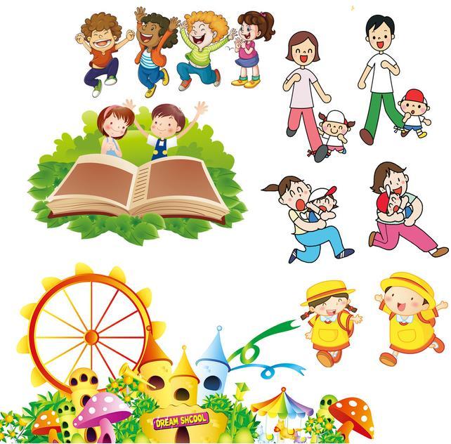 卡通六一儿童节一家人矢量素材设计