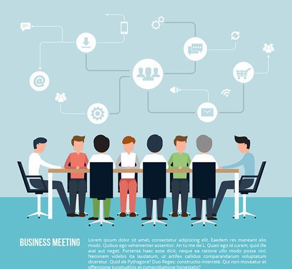 商务无表情人士会议插画矢量素材图片
