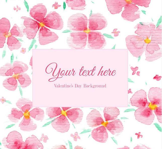 粉色水彩花朵装饰背景矢量素材