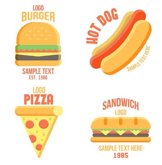 现在的年轻人都是比较喜欢吃快餐的,刚好这款卡通创意快餐标志矢量图也是以快餐为主题设计的4款不同的快餐素材哦,其中加入了汉堡,热狗,披萨和长形汉堡等元素设计,而且每一款都是以彩色的扁平化设计而成的,上面还加入了快餐的英文名字,需要可以来本站下载。