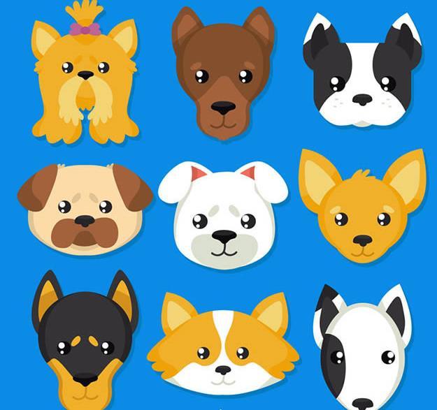可爱卡通宠物狗头像矢量素材设计