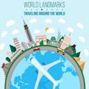 卡通环球旅行飞机和地球插画矢量素材设计