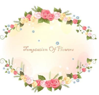 原创两款水彩玫瑰花藤蔓边框矢量素材设计