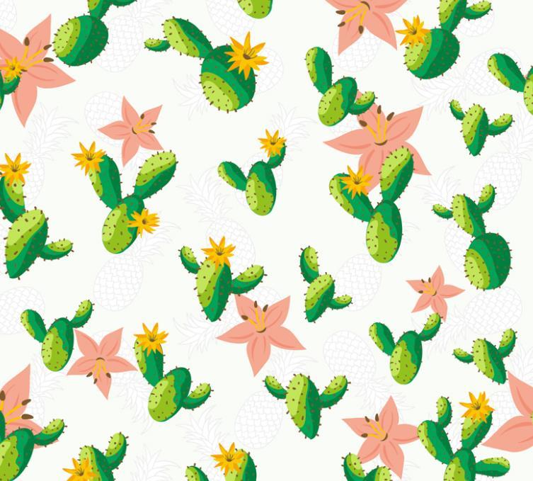 仙人掌和仙人球可都有防辐射的功能哦,那么彩绘仙人掌和花朵无缝背景矢量图片素材中也是以仙人掌为主要元素设计而成的,其中还是以无缝背景呈现给大家的,绿色的仙人掌上长满了刺,还开出了黄色的花朵,无缝背景中还有大朵的粉色花和手绘的波罗形状造型的设计,需要就来本站下载吧。