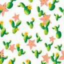彩绘仙人掌和花朵无缝背景矢量图片素材