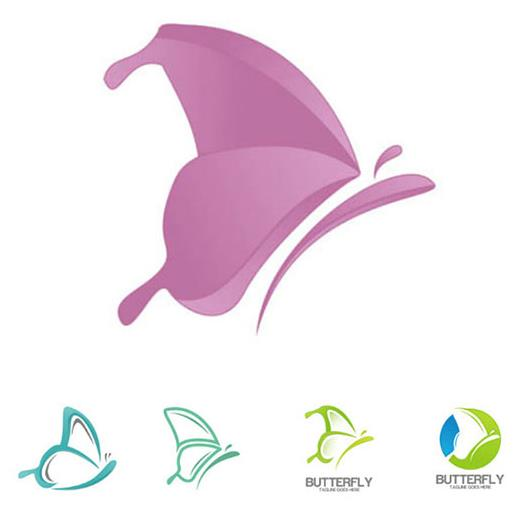 设计 > 5款抽象蝴蝶主题标志ai素材下载  蝴蝶的造型都是以对称翅膀呈