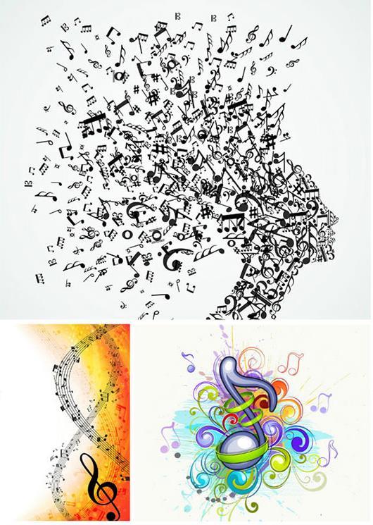 音符大家都知道是什么样的,一般呈现出黑色像小蝌蚪的形状,那么在彩色抽象的音符五线谱设计矢量图也设计了一组以彩色的音符和五线谱的造型设计,而且还都是以抽象的形象呈现给大家的,彩色音符看起来比黑色音符好看多了,需要就来数码资源网下载吧。