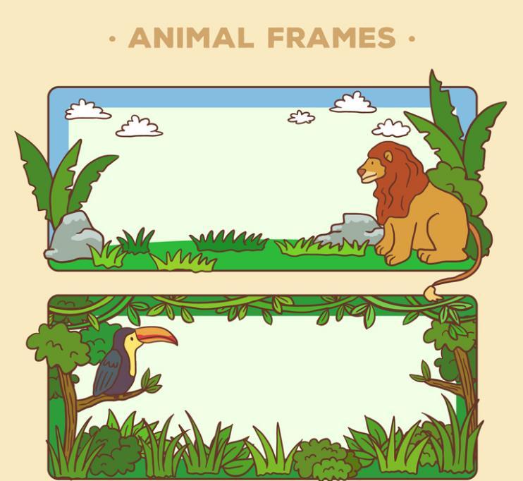 卡通动物空白banner矢量素材设计