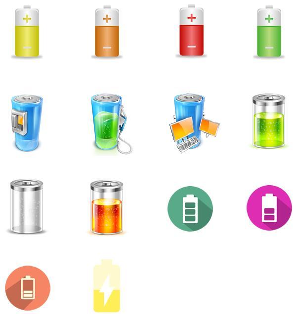 锂电池可是分很多种的,至少在这款彩色电池电量ico图标设计中就设计了多款电池的造型,分别有立体电池的图案设计,卡通造型的电池设计,还要圆形扁平化电池的造型设计等等,共计设计了14款不同颜色的电池图案图案,还有正负极之分,需要就来本站下载使用吧。