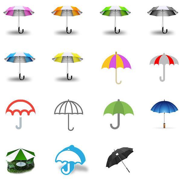 此款图标设计了15款不同颜色的雨伞,而且又3d造型设计的彩色雨伞和