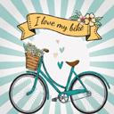 复古蓝色装满鲜花的单车矢量图片素材