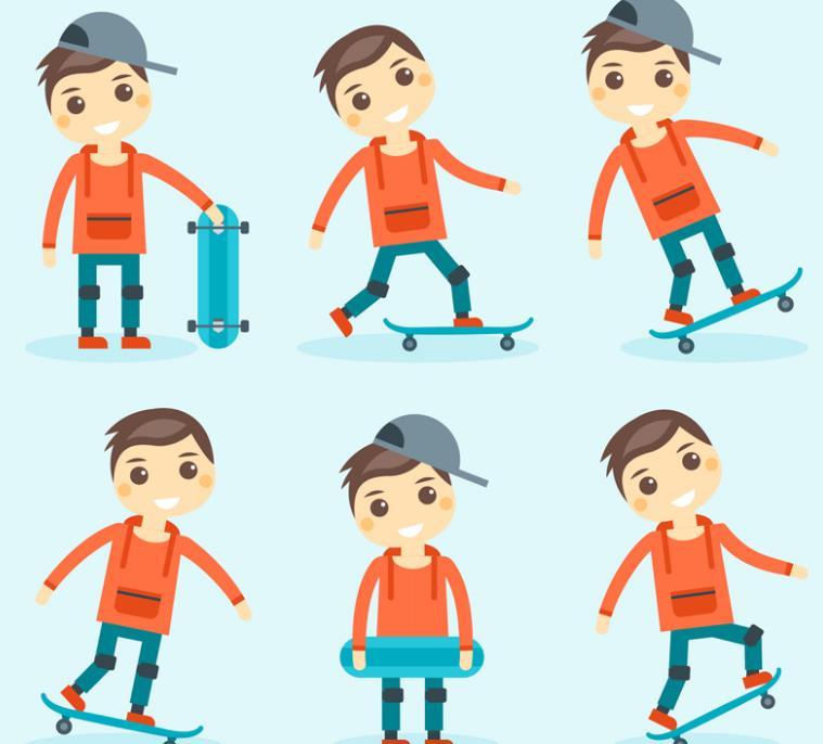 卡通玩滑板的男孩矢量图