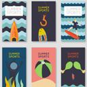 6款扁平化卡通夏季运动卡片矢量图