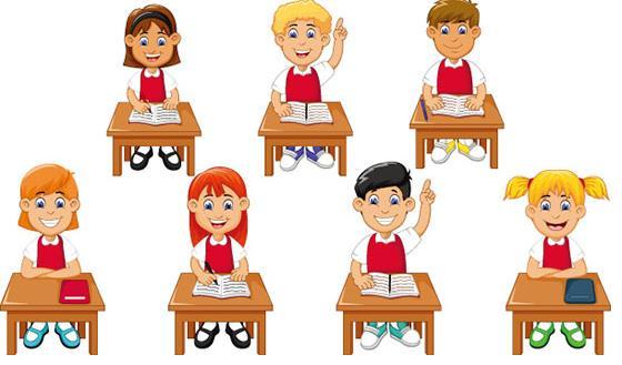 矢量素材 人物 > 卡通上课的儿童矢量图片素材下载  排排坐吃果果!