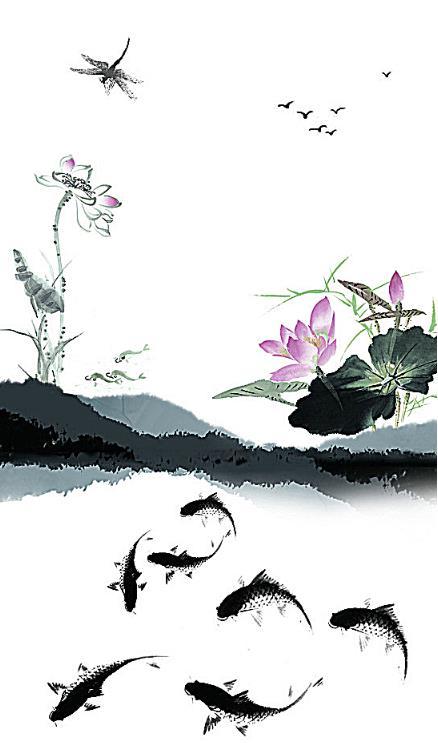 中国传统古风水墨画图片模板矢量素材设计