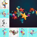3D立体彩色星星圆球堆积AI素材