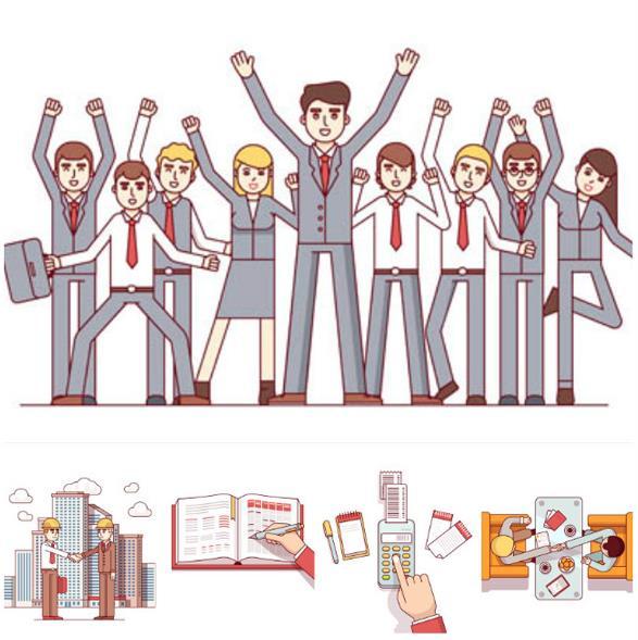 卡通办公商务人物矢量素材图片
