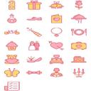25个粉色系婚礼元素设计素材png图标