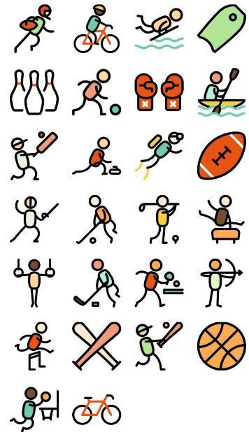 首页 资源下载 平面素材 矢量素材 图标 > 26款简洁体育运动项目ico