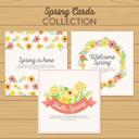 3款春季花卉卡片矢量素材