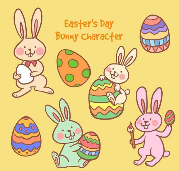 7款卡通可爱兔子和彩蛋矢量素材图片